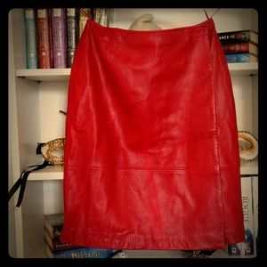 Liz Claiborne Collection Red Leather Skirt Wrap